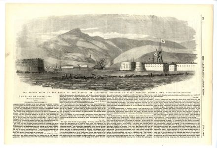 1854 Print SEVASTOPOL HARBOUR MONTAGU OREILLY Crimean War ANTIQUE ENGRAVING